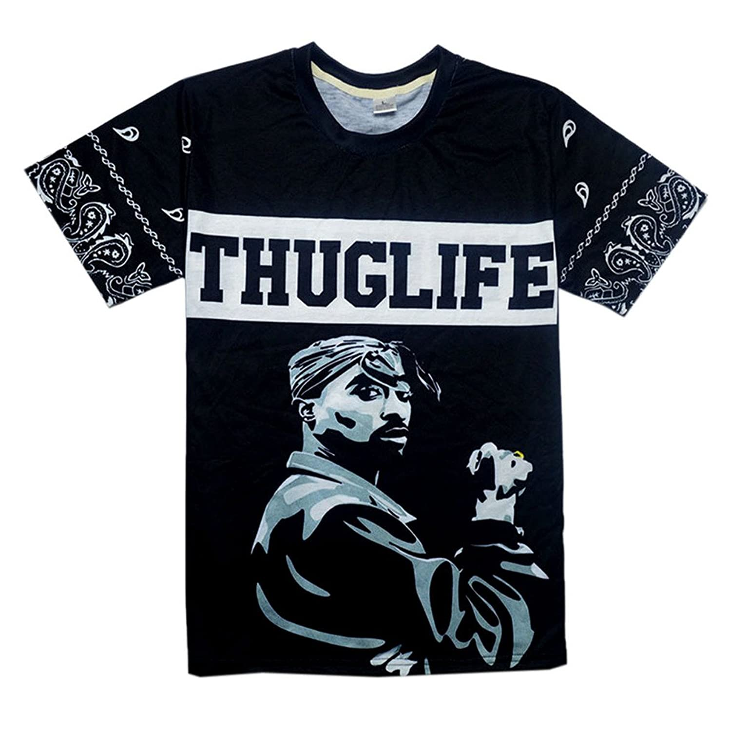 Bolany Men's Hip Hop Tupac 2pac 3d Printed Crew Neck Short Sleeve T-Shirt