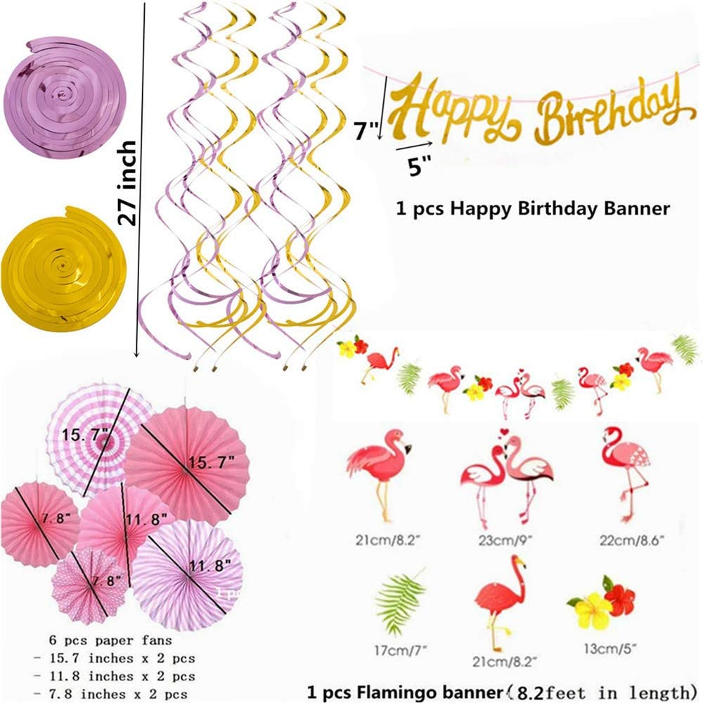 Gold Glittery Happy Birthday Banner for Birthday Party Supplies Decorations Flamingo Flag Wreath Hawaiian Flamingo Theme Party Decor,Hanging Pink Paper Fans Decoration Set of 6