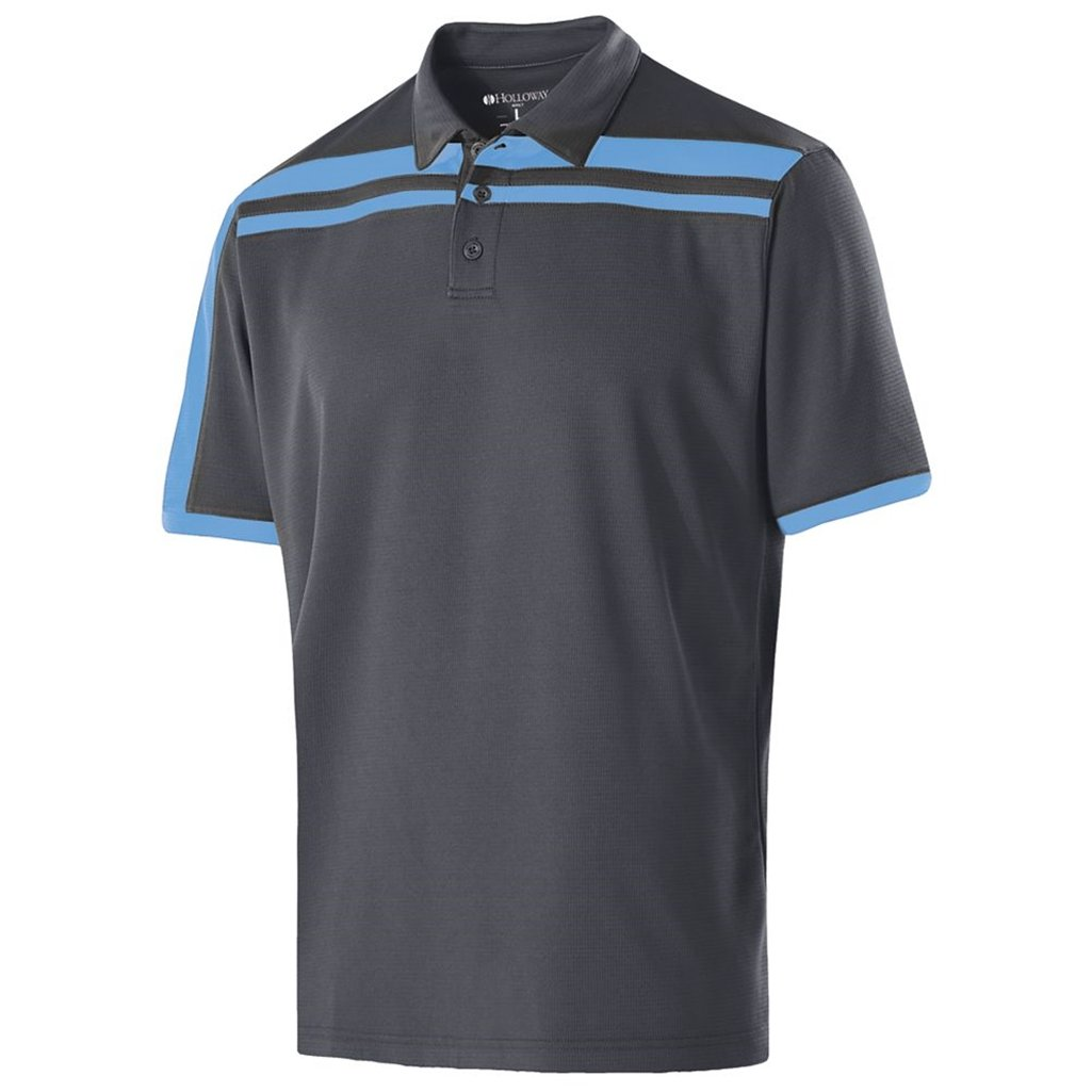 Holloway Dry-Excel Mens Charge Polo (X-Large, Carbon/University Blue) by Holloway