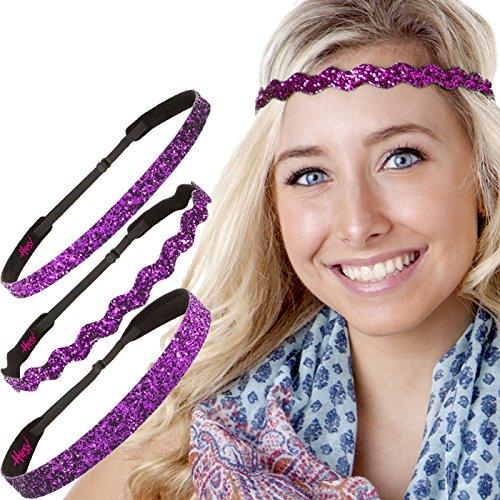Hipsy Women's Adjustable NO SLIP Bling Glitter Headband Mixed 3pk (Mixed Fuchsia ()