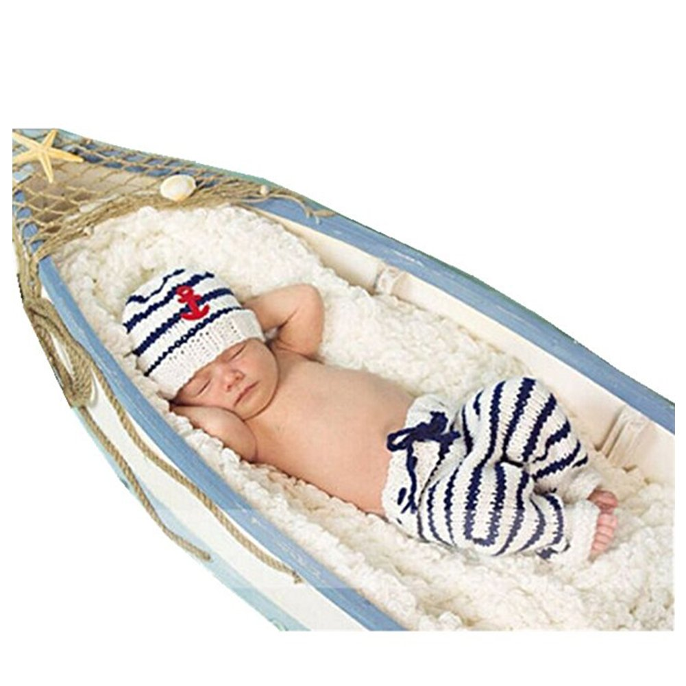nouveau-né Photographie Props Fille Garçon Crochet tenues de costume Bleu marine Chapeau Pantalon Binlunnu