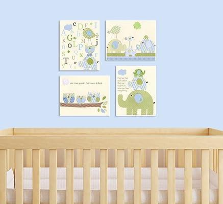 Nursery Art Print Kids Room Wall Art Nursery Decor Baby Nursery Kids art Owl ABC Elephant First we had Love you to Moon Light Blue Cream Green Eli room. Set of 4 prints.