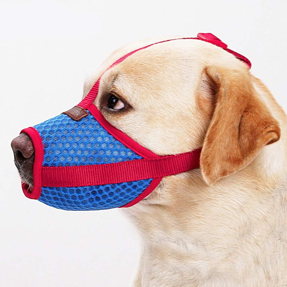RC GearPro Bozal Ajustable para Perro, Boca para Mascotas, Malla de Aire para Anti-mordidas, Anti-ladridos, lamiendo Perros pequeños, medianos y Grandes (L)