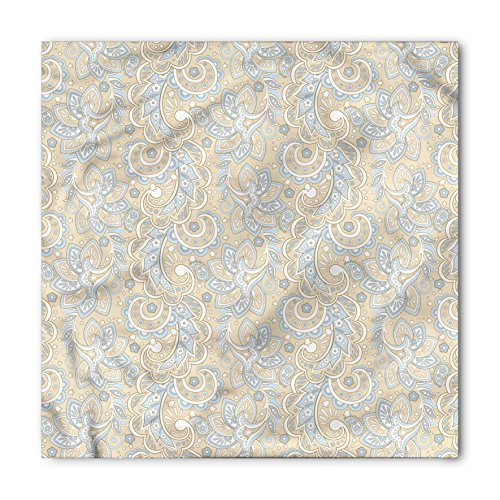 Paisley Bandana by Lunarable, Vintage Abstract Batik Flower Design Soft Colored Image Ornamental Pattern, Printed Unisex Bandana Head and Neck Tie Scarf Headband, 22 X 22 Inches, Tan Baby Blue White (Bandana Paisley Tan)