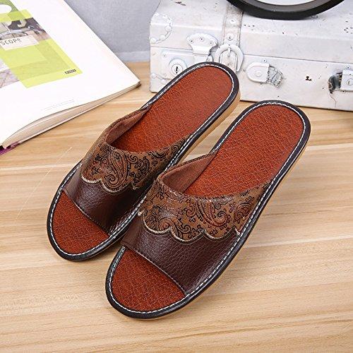Suelos con Rojo Anti 29 Color Estancia 44 de Slip Marrón fankou Elegante Zapatillas de Verano de Casa domésticos Madera Costillas Cool Interiores 43 y Zapatillas OxWqY0Fgw