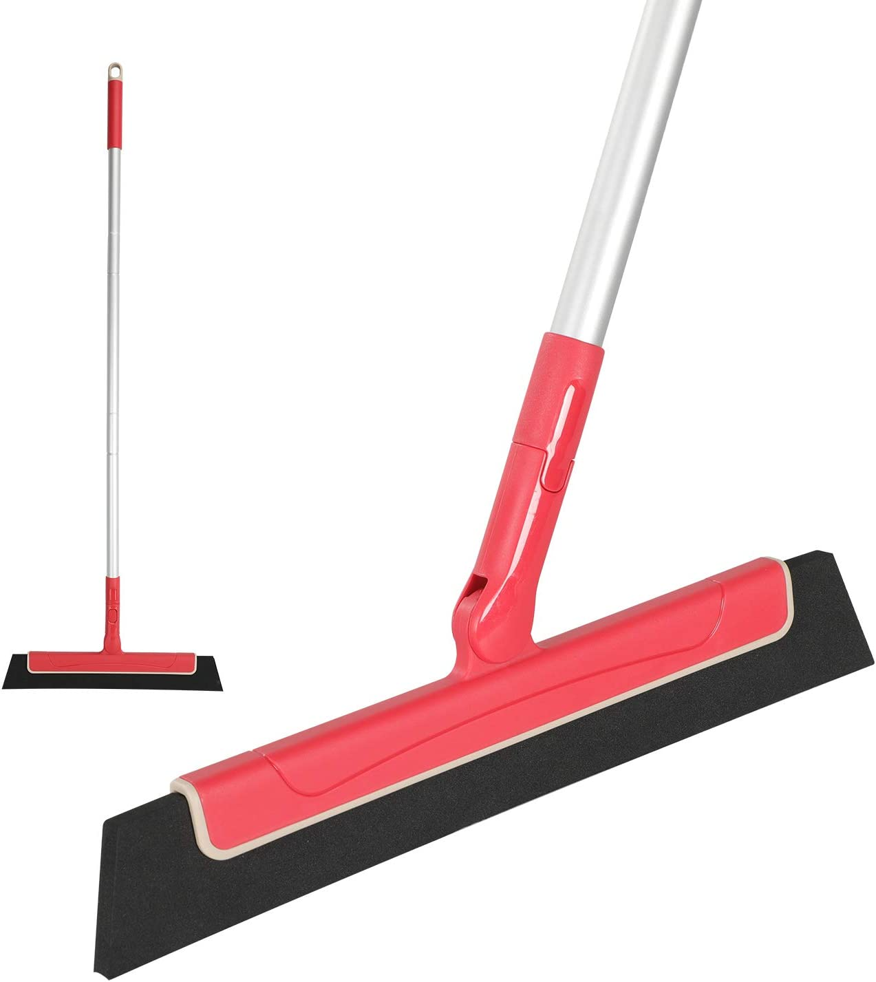 CLEANHOME Floor Squeegee 38in Adjustable Professional Water Sweeper for Bathroom,Perfect forWood Floor,Glass,Window,Tile Shower Pool Deck Pet Hair Floor Wiper Squeegee Broom