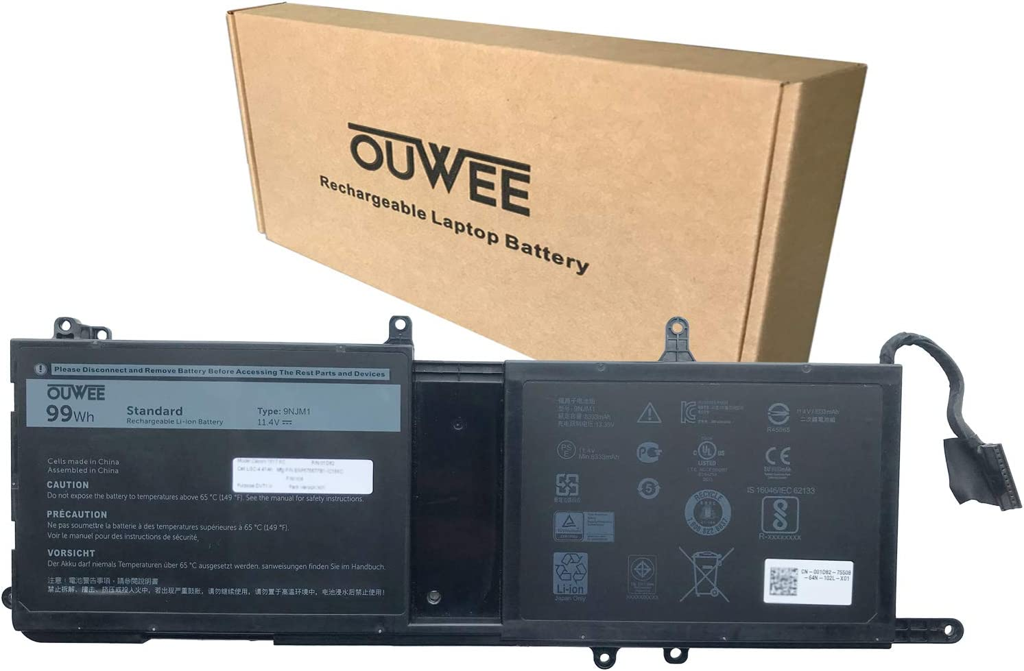 OUWEE 9NJM1 Laptop Battery Compatible with Dell Alienware 15 R3 R4 17 R4 R5 Series Notebook 0546FF 0HF250 44T2R HF250 MG2YH 0MG2YH 11.4V 99Wh 8820mAh