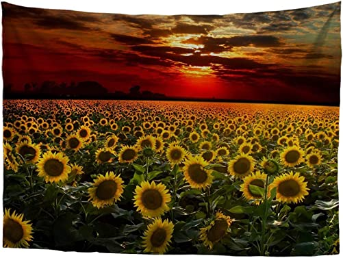 HUGS IDEA Art Wall Hanging Stylish Sunset Sunflowers Printing Tapestry Home Decoration for Living Room Dorm Bedroom