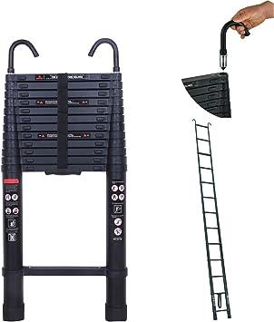 Escalera telescópica con gancho para techo desmontable de 5 metros de aluminio portátil de carga máxima: 149 kg, escalera extensible de altura de 5 m retráctil multiusos: Amazon.es: Bricolaje y herramientas