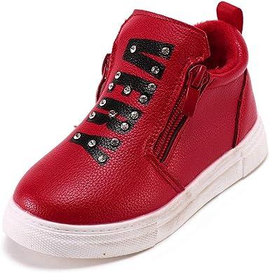 YanHoo Zapatos para niños Diamantes Infantiles con Doble Cremallera más Botas de Terciopelo cálidas Botas Invierno Cálido Cristal Letra Sport Botas Zapatillas de Running: Amazon.es: Ropa y accesorios