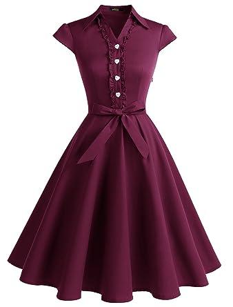 2d303f727cb WedTrend Robe Vintage 50 s 60 s Style Audrey Hepburn avec Boutons de cœur  WTP10007 Burgundy XS