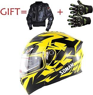 LIGHT Casques de Motocross de Moto de Moto, Casque de Moto de VTT de Moto de VTT de Moto de Montagne D.O.T Certification (Ensemble de Trois pièces de Gants de Casque de Protection),L