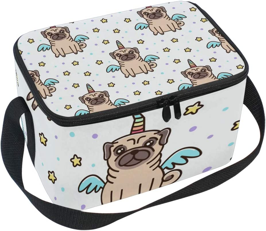 Insulated Lunch Bag Pug Dog Unicorn Pattern Yellow Stars Lunchbox Thermal Handbag Food Container Cooler Reusable Outdoors Travel Work School Strap Lunch Tote
