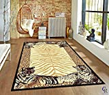 """Cheap Leopard Animal Skin Print with Tiger Border Area Rug (5' 3"""" x 7' 5"""")"""