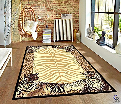"Tiger Skin Rug - Leopard Animal Skin Print with Tiger Border Area Rug (5' 3"" x 7' 5"")"