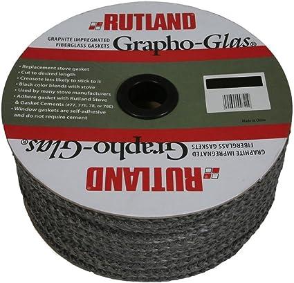 "Rutland Grapho-Glas Fiberglass Stove Gasket Black 1/"" x 72/"" 6/'"