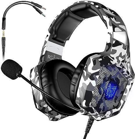 VersionTECH. Auriculares Gaming Cascos PS4 con Microfono, Diadema Ajustable, Bass OverEar 3,5mm Jack, Luz LED, Control de Volumen, Bajo Ruido para PS4/Xbox One/Nintendo Switch/PC (Camuflaje Blanca): Amazon.es: Videojuegos