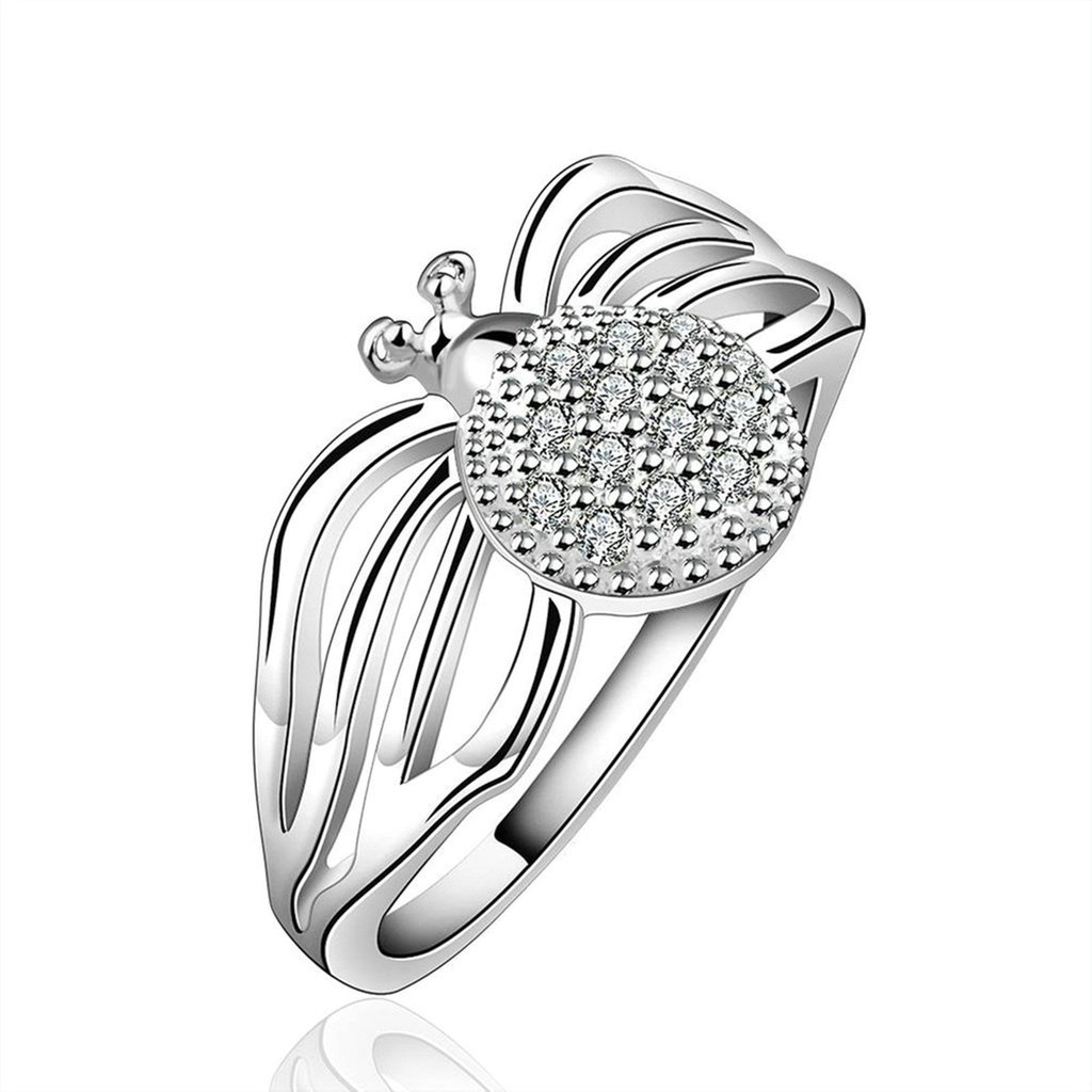 Epinki Womens Silver Plated Wedding Bands Brilliant Cubic Zirconia Lovely Spider Ring-Free Engraving