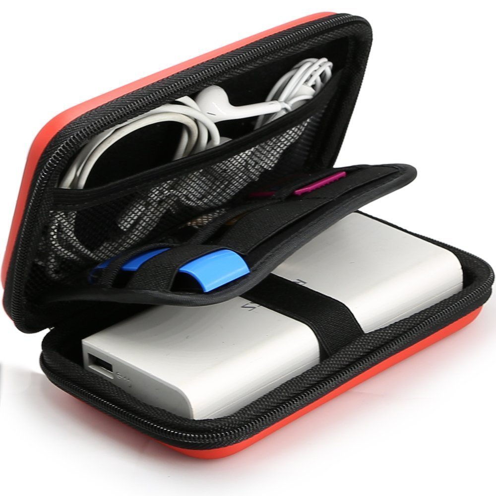 Power Bank Pouch, iMangoo Shockproof Carring Case Hard Protective EVA Case Impact Resistant USB Cable Organizer Sleeve Adapter Pocket Earphone Travel Wallet Pouch for Ravpower Anker Battery Pack Red