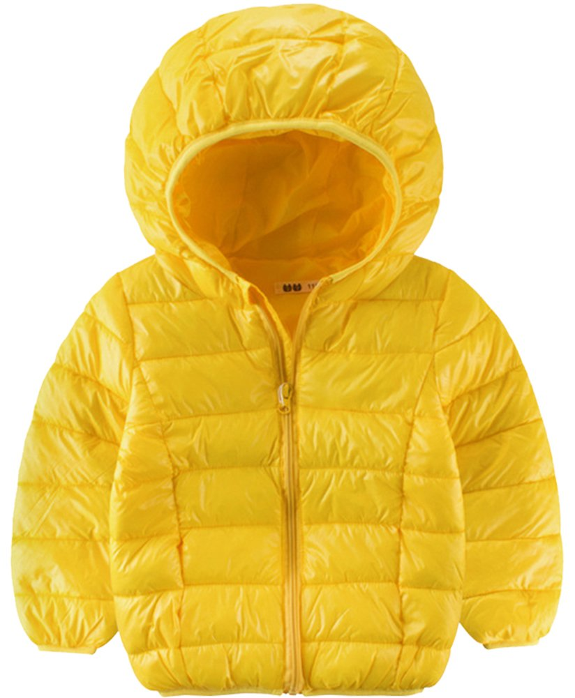 KISBINI Boys Windproof Lightweight Hoodie Jacket Warm Coat Yellow 4T