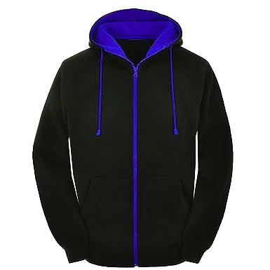 Mens Contrast Black and red Zip Varsity Retro Zip up Hoodie 25730481101