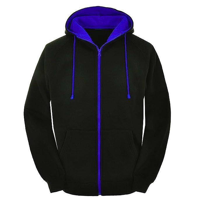 6f819031851 Mens Contrast Black and red Zip Varsity Retro Zip up Hoodie
