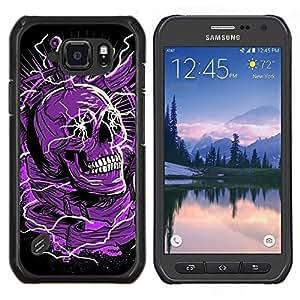 EJOOY---Cubierta de la caja de protección para la piel dura ** Samsung Galaxy S6Active Active G890A ** --Cráneo púrpura Negro Muerte eléctrico Dead