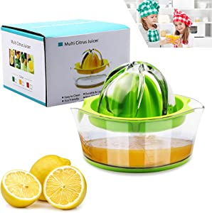 Lemon Squeezer Citrus Juicer with Strainer,Hand Juicer Citrus Lemon Orange juicer Fruit Juicer Lime Press Manual Juicer Squeezer with Built-in Measuring Cup,Green