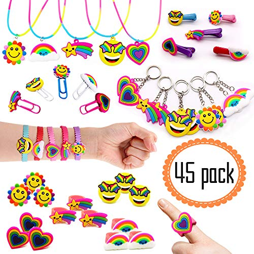 (Rainbow Emoji Party Favors Supplies Set - Hair Clips Hair Pins Barrettes Pendant Necklace Key Chain Paperclip Adjustable Bracelets Rings Birthday Gift Novelty Toys (45 Packs))