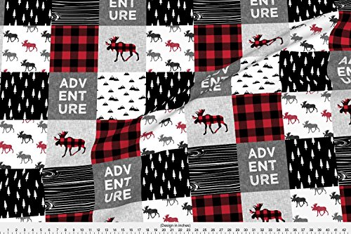 Home Fabric Plaid Decor (Moose Fabric Adventure Patchwork Buffalo Plaid Woodland Moose by Littlearrowdesign Printed on Minky Fabric by the Yard by Spoonflower)