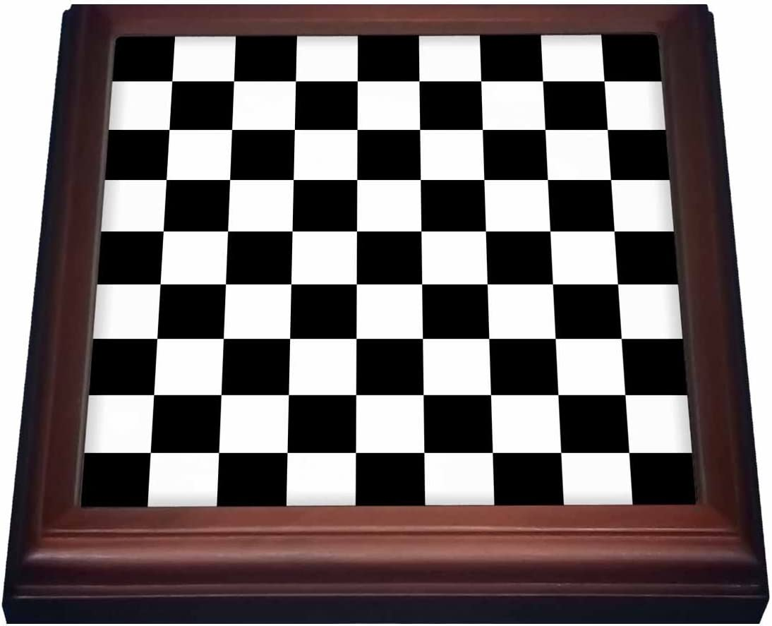 "3dRose Check black and white pattern checkered checked squares chess checkerboard or racing car race flag Trivet with Ceramic Tile, 8"" x 8"", Brown"