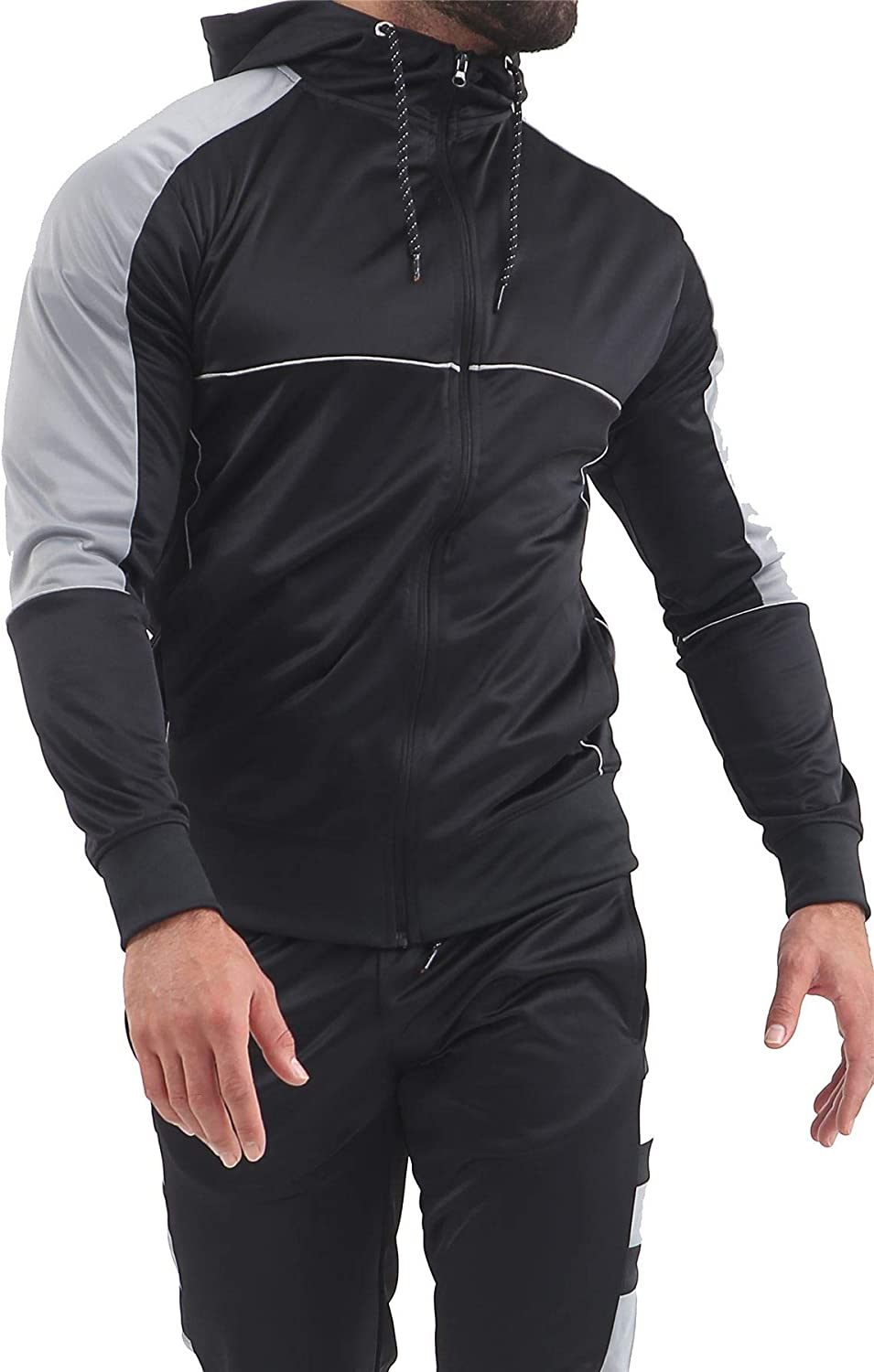 Fashions Mens Scuba Panel Polyester Tracksuit Set New Slim Fit Cord Hoodie Top