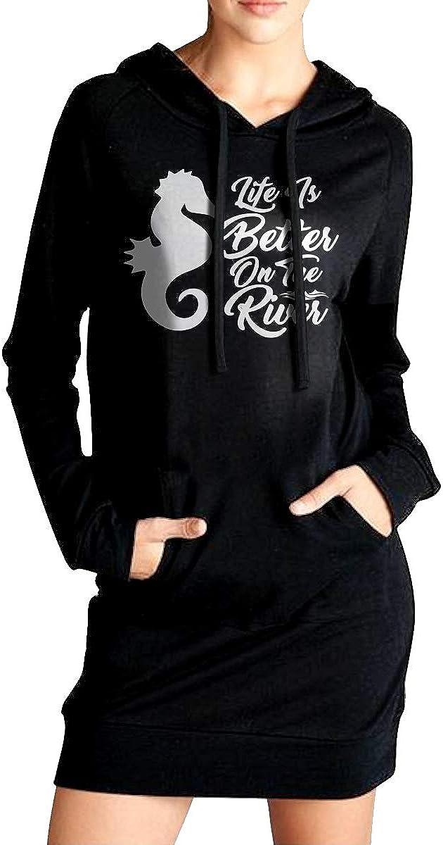 Life is Better On The River1-1 Sportswear with Kanga Pocket Womens EcoSmart Fleece Long Hoodies Dress