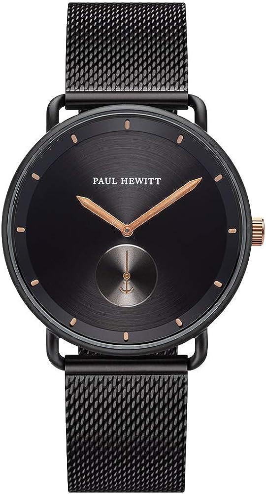 PAUL HEWITT Reloj de Pulsera para Hombre en Acero Inoxidable Breakwater Black Sunray - Reloj de Correa Negra con diseño de Malla, Reloj de muñeca para Hombre con Esfera Negra y Detalles en Bronce