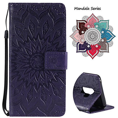 Leather Wallet Case for Samsung Galaxy S9 Plus (2018 Release), Credit Cards & Changes Holder, Colorful Art Mandala Design, Magnetic Durable Flip Cover Kickstand case for S9 Plus(6.2 inch)-Purple