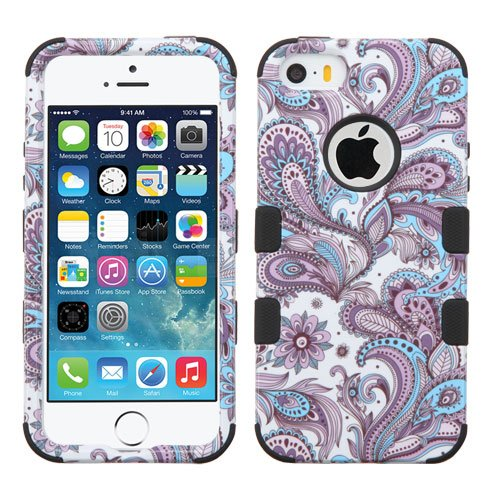 Wydan Compatible Case for iPhone 5 SE 5S - TUFF Hybrid Hard Shockproof Case Protective Heavy Duty Impact Skin Cover - Paisley for Apple