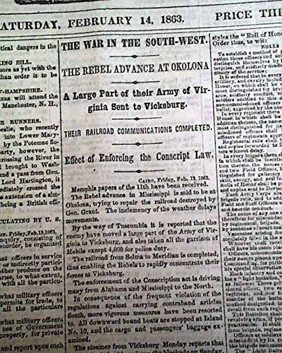 OKOLONA MS Mississippi River Blockade Ulysses S. Grant Civil War 1863 Newspaper NEW YORK TRIBUNE, Feb. 14, 1863 Among the front page column heads ... 1863 Civil War Newspaper