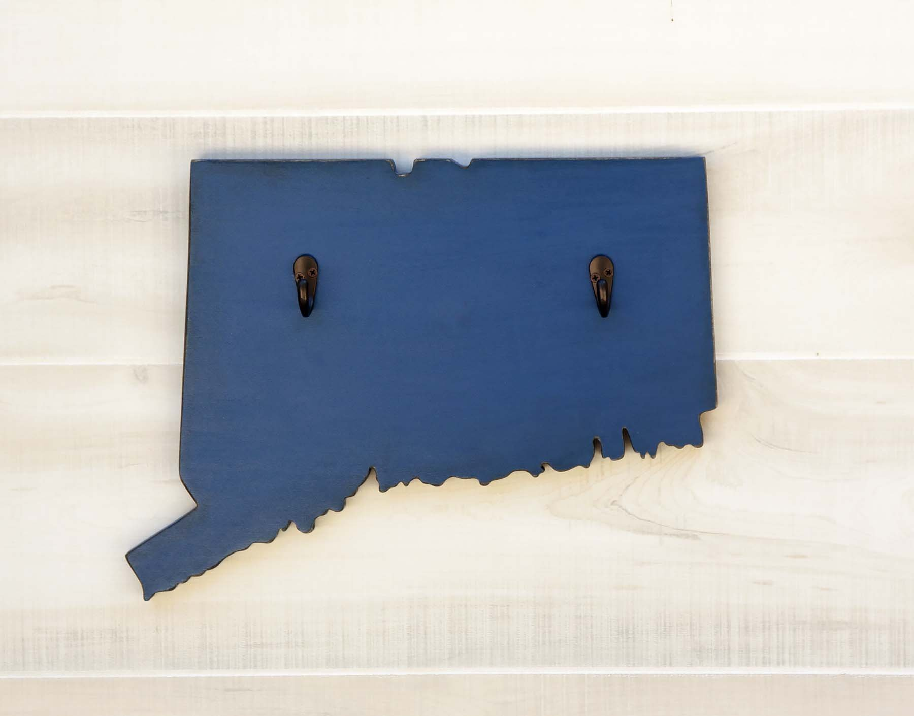 Connecticut State Map Shape Key Hook Home Organizer. Additional US States A-K available. 20 Paint Colors. 3 Key Hook Colors. Solid ¾ wood cutout.