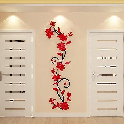 Homebaby Stickers Muraux--3D Stickers Muraux Sticker Mural DIY Sticker  Muraux Miroir Sticker Muraux Fleur Chambre Décor Art Bricolage Autocollant  ...