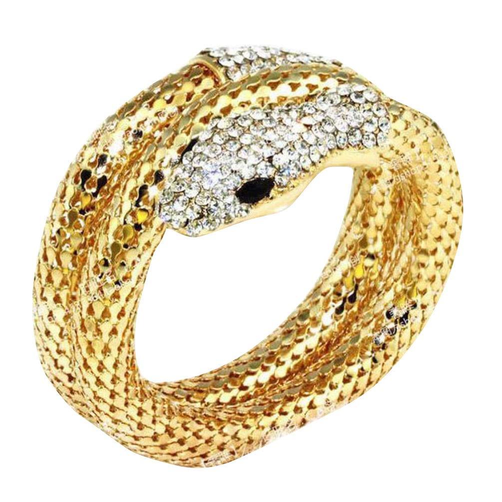 Snake Bracelet Crystal Rhinestone Flexible Stretch Snake Cuff Bangle Bracelet Vintage Cool Punk Lifelike Thick Snake Stacking Wrap Wrist Cuff Bangle Bracelet Fashion Jewelry (Gold)