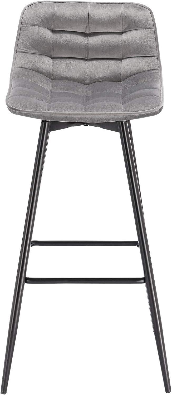 WOLTU BH143hgr-4 4X Sgabelli da Bar Moderni Sedia da Cucina Pranzo con Poggiapiedi Rivestimento in Velluto Grigio Chiaro