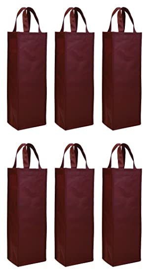 Amazon.com: Reusable Gift Bag, Single Bottle Wine Tote, 6 Pack Set ...