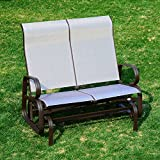 Outsunny 2 Person Outdoor Mesh Fabric Patio Double Glider Chair - Brown and Beige