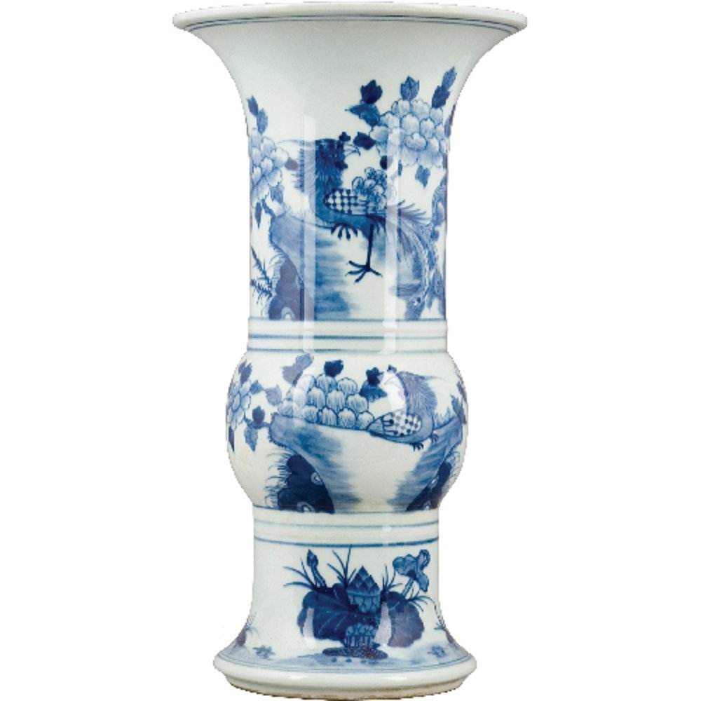 Home decor. Blue and White Oriental Vase. Dimension: 8 x 14.5. Pattern: Blue and White Classic.