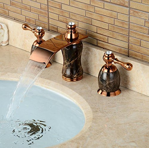 (Guoke Bathroom Sink Faucet Stainless Steel Faucet Bathroom Luxury Waterfall Faucet Split Three-Hole Basin Faucet Bathtub Hot And Cold Mixing Faucet Copper Jade Stone D15)