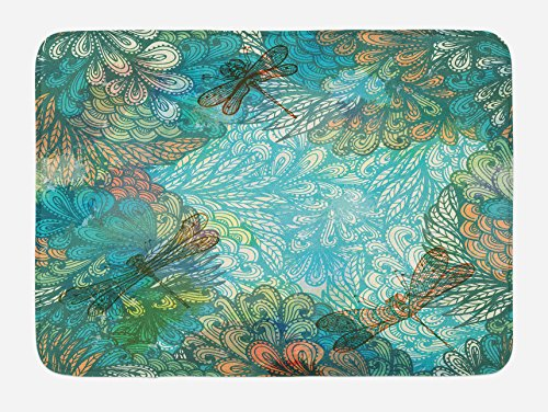 Ambesonne Dragonfly Bath Mat, Fantasy Flowers Mixed in Various Tones Shabby Chic Feminine Beauty Print, Plush Bathroom Decor Mat with Non Slip Backing, 29.5 W X 17.5 W Inches, Turquoise Amber ()