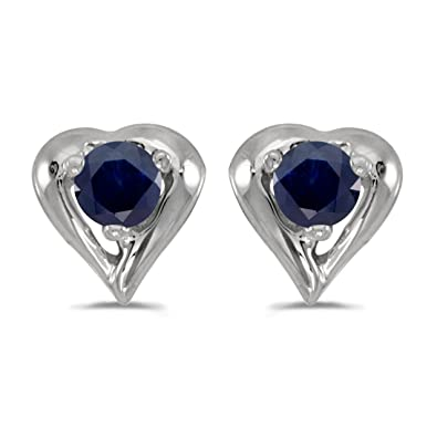 558b23819 0.18 Carat (ctw) 10k White Gold Round Blue Sapphire Heart Shape Stud  Earrings with