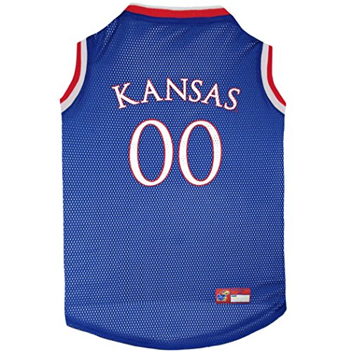 619%2BMBXABEL - Pets First Kansas Jayhawks Basketball Mesh Jersey for Dogs & Cats, Large