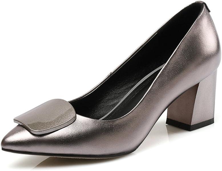 2f10b76f86 Nine Seven Leather Women's Pointed Toe Chunky Heel Handmade Dress Pumps  Heels (4.5, Gun