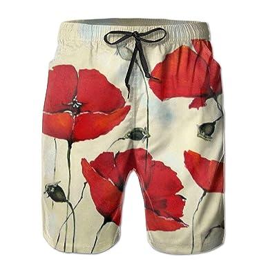 9ab9e242e2977 ITE Red Poppy Flower Beige Floral3 Men's/Boys Casual Shorts Swim Trunks  Swimwear Elastic Waist
